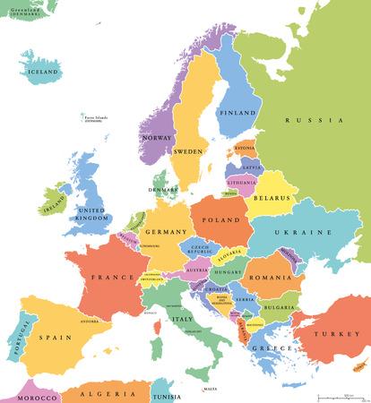 L'Europe Etats célibataires carte politique. Tous les pays de différentes couleurs, avec les frontières nationales et les noms de pays. étiquetage anglais et mise à l'échelle. Illustration sur fond blanc. Vecteurs