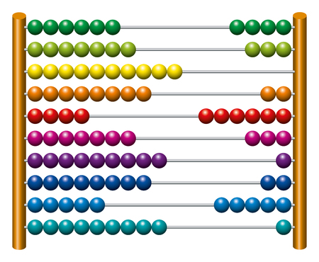 sliding: European abacus counting frame. Calculating tool with rainbow colored beads sliding on wires. Used in pre- and in elementary schools as an aid in teaching the numeral system and arithmetic or as toy.