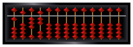 sliding: Soroban Japanese abacus. Counting frame and calculating tool with red beads sliding on wires. Derived from ancient Chinese suanpan. It is still used today, despite pocket electronic calculators.