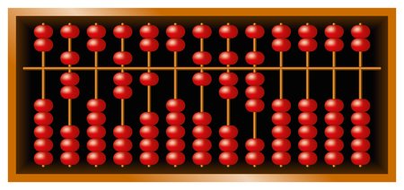 calculating: Suanpan Chinese abacus, also Suan Pan and souanpan. Counting frame and calculating tool with red beads sliding on wires in a wooden box. It is still used today, despite pocket electronic calculators.