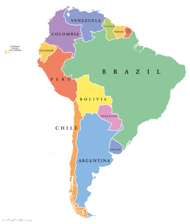South America single states political map. All countries in different colors, with national borders and country names. English labeling and scaling. Illustration on white background. Illustration