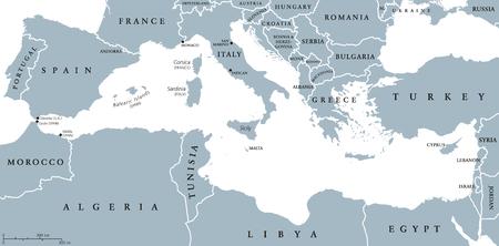 países de la región Mar Mediterráneo mapa político con las fronteras nacionales. El sur de Europa, norte de África y Oriente Próximo con las fronteras nacionales. Inglés etiquetado y descamación. Ilustración.
