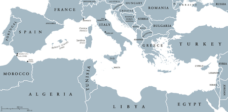 mapa politico: países de la región Mar Mediterráneo mapa político con las fronteras nacionales. El sur de Europa, norte de África y Oriente Próximo con las fronteras nacionales. Inglés etiquetado y descamación. Ilustración.