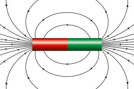 champ magnétique d'un aimant cylindrique idéal, représenté par les lignes de champ magnétique. Les flèches montrent la direction du champ autour du barreau magnétique en différents points. Illustration sur blanc