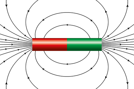 Magnetic field of an ideal cylindrical magnet, represented by magnetic field lines. The arrows are showing the direction of the field around the bar magnet at different points. Illustration over white Ilustração
