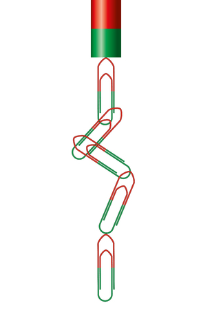 on temporary: Temporary magnetized paper clips hanging on a bar magnet. Each paperclip has its own magnetic north and south pole. Physics. Illustration on white background.
