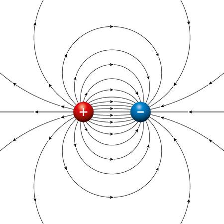 Elektrische veldlijnen van twee tegengestelde ladingen gescheiden door een eindige afstand. Fysieke dipool, twee polen, gemaakt door elektrische gelijke gebracht ballen. Rood plus en blauw minpunten. Afbeelding op een witte.