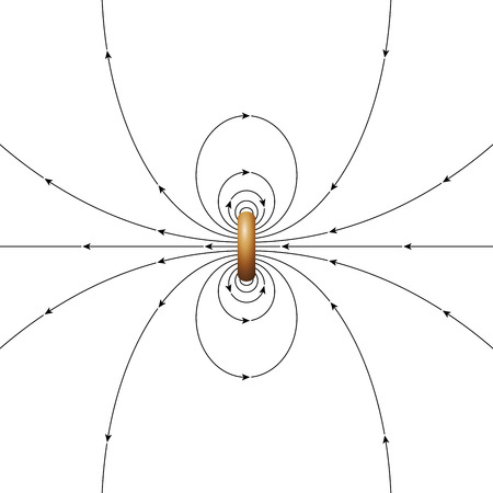 diameter: Magnetic field lines of a ring current of finite diameter. The arrows showing the direction of the magnetic field. Illustration over white. Illustration