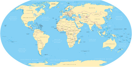 shorelines: World map with shorelines, national borders, oceans and seas under the Robinson projection. English labeling. Illustration.