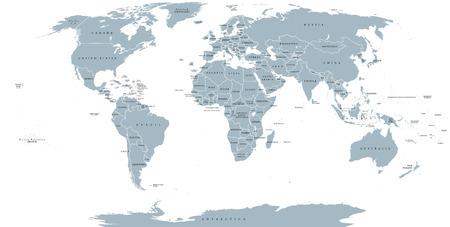 Wereld politieke kaart. Gedetailleerde kaart van de wereld met de oevers, de nationale grenzen en namen van het land. Robinson projectie, engels etikettering, grijs illustratie op een witte achtergrond.