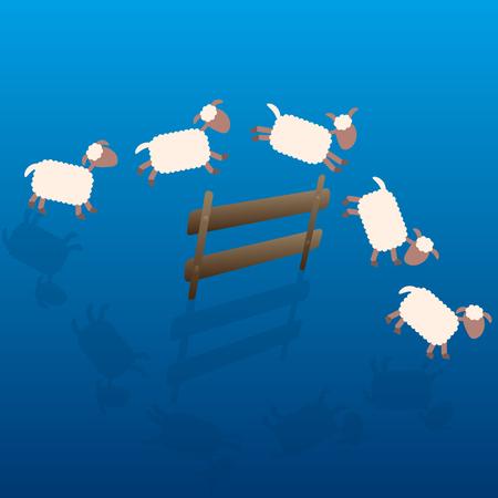 salto de valla: Contar ovejas - ilustración de dibujos animados de ovejas saltando sobre una cerca de madera en la noche.