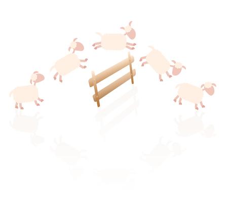 salto de valla: Contar ovejas - ilustración cómica de ovejas saltando sobre una cerca de madera.