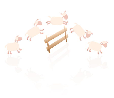 stereotype: Counting sheep - comic illustration of sheep jumping over a wooden fence. Illustration