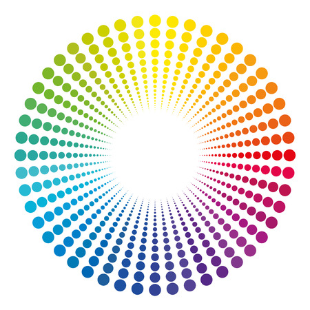 end of rainbow: To see light at the end of the tunnel - symbolically depicted with a rainbow colored dot pattern. Illustration