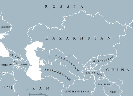 caucasus: Caucasus and Central Asia countries political map with national borders. English labeling. Illustration.