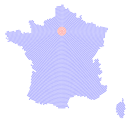 corsica: France map radial dot pattern. Blue dots going from the capital Paris outwards and form the hexagon silhouette of France with the island Corsica. Illustration on white background.