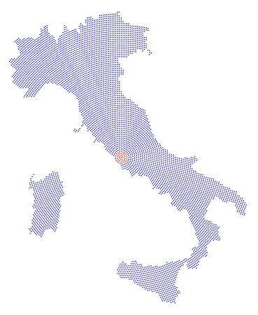 outwards: Italy map radial dot pattern. Blue dots going from the capital Rome outwards and form the boot silhouette of the country and the islands Sicily and Sardinia. Illustration on white background.