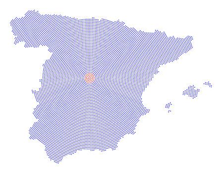Spanien Karte Radialpunktmuster. Blaue Punkte gehen aus dem roten gepunkteten Hauptstadt Madrid nach außen und bilden die Landsilhouette mit den Inseln Ibiza, Mallorca und Menorca. Abbildung auf weißem Hintergrund