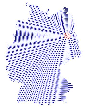 Germany map radial dot pattern. Blue dots going from the red dotted capital Berlin outwards and form the country silhouette with the island Ruegen. Illustration on white background.
