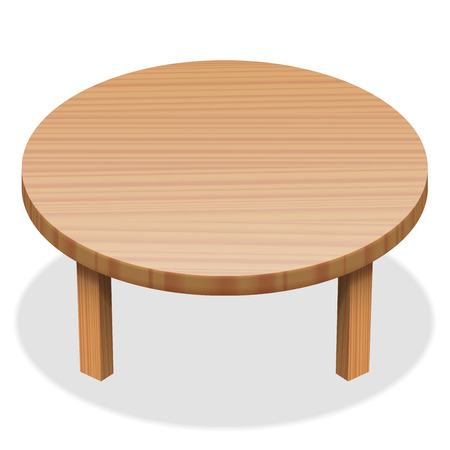 Round table - wooden surface. Isolated vector illustration on white background.