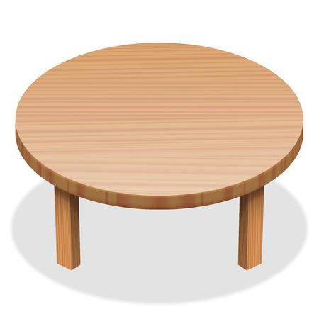Tavola rotonda - superficie di legno. illustrazione vettoriale isolato su sfondo bianco.