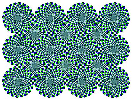 drift: Rotating diamond wheels motion illusion. The wheels with blue and green diamonds seem to move clockwise when moving the eyes from one to another. Called peripheral drift or Fraser Wilcox illusion. Illustration
