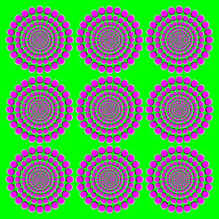 peripheral: Blooming pink wheels motion illusion. It seems the wheels with magenta dots on green background become bigger when moving the eyes from one to another. Peripheral drift or Fraser Wilcox illusion.