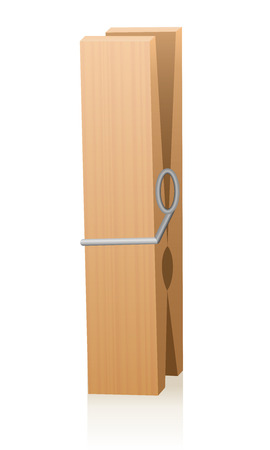 clothespeg: Wooden clothespin. Isolated vector illustration on white background.