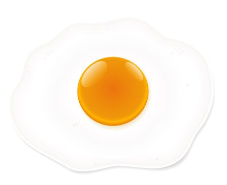 fried: Fried egg - isolated vector illustration on white background. Illustration