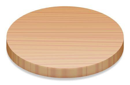 wooden circle: Round wooden board, perspective view - isolated vector illustration on white background. Illustration