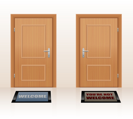 rejection: WELCOMING CULTURE - symbolically depicted with two doormats saying WELCOME and YOURE NOT WELCOME as a symbol for hospitality and rejection. Vector illustration. Illustration