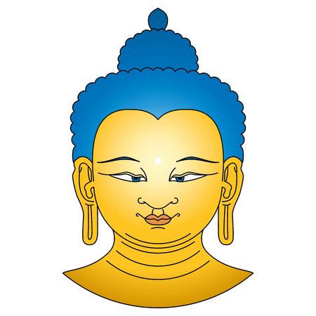 cabeza de buda: El oro coloreado cabeza de Buda con los pelos azules. Bodhisattva ilustración sobre fondo blanco. Urna, el punto blanco circular entre las cejas simboliza el tercer ojo y la visión en el mundo divino. Vectores