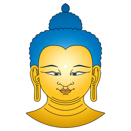 Gold colored Buddha head with blue hairs. Bodhisattva illustration on white background. Urna, the circular white dot between the eyebrows symbolizes the third eye and vision into the divine world. Illustration