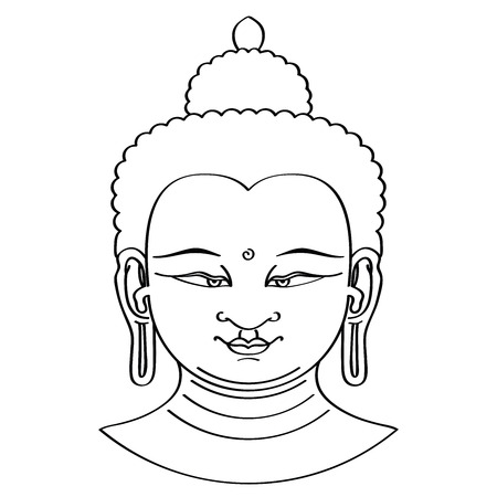 third eye: Buddha head illustration in brush technique. Black brushstrokes on white background. Urna, the spiral between the eyebrows symbolizes the third eye and vision into the divine world.
