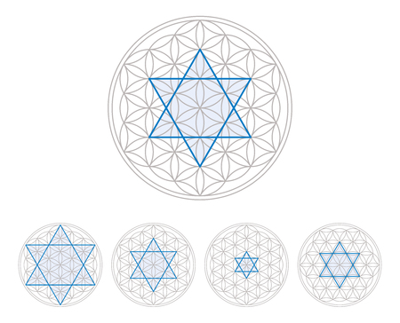 hexagram: Blue hexagram in Flower of Life, a geometrical figure, composed of multiple evenly-spaced, overlapping circles, forming a flower-like pattern. Hexagram, six-pointed geometric star figure. Illustration