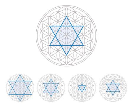 star life: hexagrama azul en la flor de la vida, una figura geom�trica, compuesta de m�ltiples c�rculos superpuestos, uniformemente espaciados, formando un patr�n como una flor. Hexagrama, de seis puntas figura geom�trica estrellas. Ilustraci�n