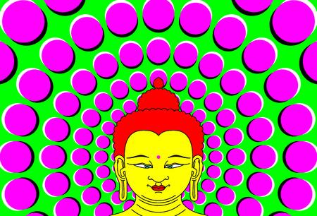 éxtasis: Psychedelic Buda con el fondo en movimiento. Vectores