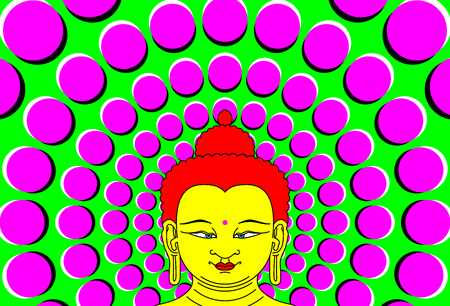 Psychedelic Buddha with moving background.