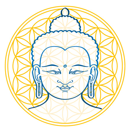 Buddha and the Flower of Life, a geometrical figure and ancient symbol, composed of multiple evenly-spaced, overlapping circles, forming a flower-like pattern. Sacred geometry illustration over white.