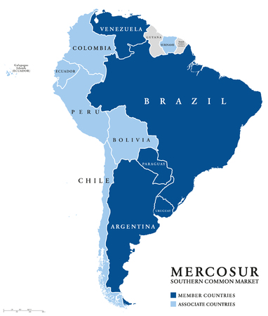 MERCOSUR Southern Common Market countries info map, also Mercosul. Free trade bloc with members Argentina, Brazil, Paraguay, Uruguay, Venezuela and associate countries. English labeling. Illustration.