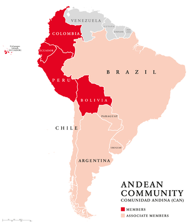 Andean Community countries map, a trade bloc. Comunidad Andina, CAN, customs union comprising the South American countries Bolivia, Colombia, Ecuador, Peru and five associate members. Andean Pact.
