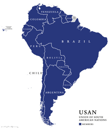 paraguay: USAN, Union of South American Nations map, an intergovernmental regional organization comprising twelve South American countries. Continental union, also called UNASUR, UNASUL or UZAN. Info graphics. Illustration