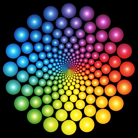 coloured: Infinity pattern composed of rainbow colored balls on black background.