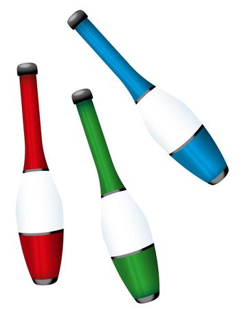 Juggling clubs - three-dimensional colorful set - isolated vector illustration on white background. Vektoros illusztráció