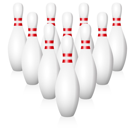 starting position: Bowling pins - starting position - isolated vector illustration on white background. Illustration
