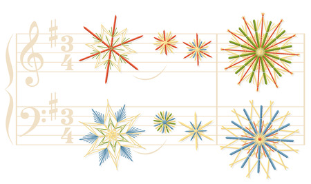 Silent Night christmas song stave with vintage straw stars instead of notes.