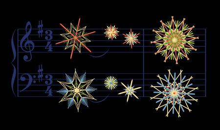 clave de fa: estrellas de paja en lugar de notas tocando la canción de Navidad silenciosa de la noche. Vectores