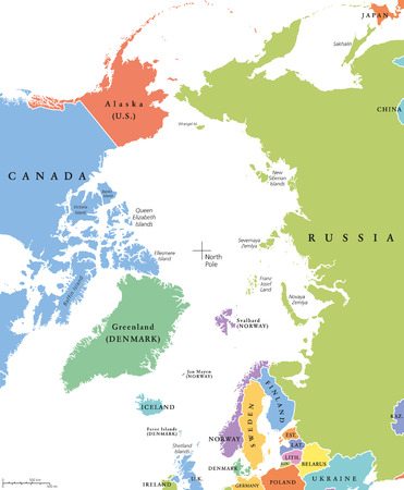 Arctic region single states and North Pole political map. Nations in different colors, with national borders and country names. Arctic ocean without sea ice. English labeling and scaling. Illustration Illustration