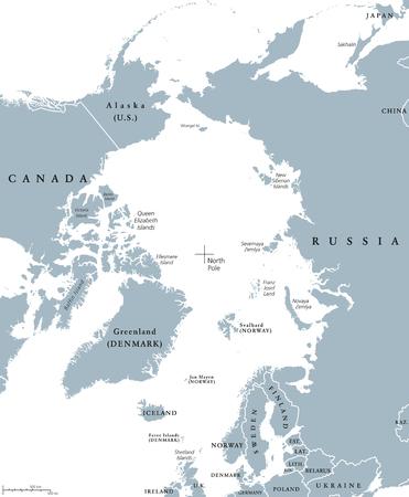 Arktis Länder und Nordpol politische Karte mit nationalen Grenzen und Ländernamen. Arctic Ozean ohne Meereis. Englisch Beschriftung und Skalierung. Illustration. Standard-Bild - 64057139