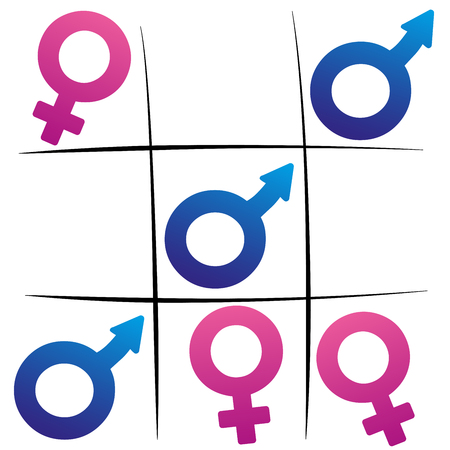 battle of the sexes: Gender fight - winning man - female and male symbols playing tic tac toe.